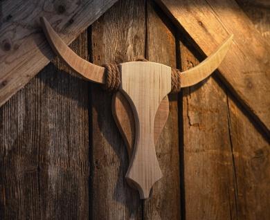 "Wand Deko "" Bulle"" Deko Wild Wald Tier recyceltes Holz rustikale Tür Skulptur"