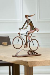 "GILDE SKULPTUR 38816 "" Cycling Girl"" aus METALL rost RADFAHRER DEKO FIGUR"