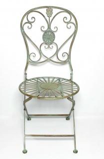 """Metall Stuhl """" Pfauenauge"""" im Antik Design, Garten Balkon Terrasse Klapp Sessel - Vorschau 2"""