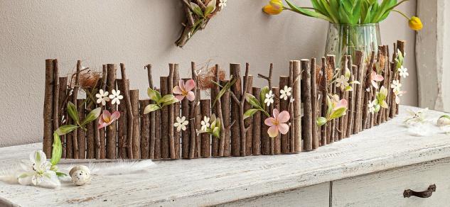 """Deko Zaunelement """" Osterwiese"""" 100 cm lang rustikaler Beet & Blüten Frühling Zaun"""