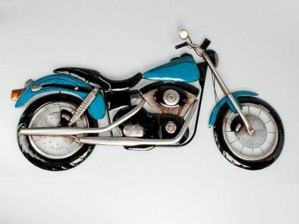 """3D Metall Wand Bild """" Motorrad"""" 95x54 blau Nostalgie Deko Relief Schmuck Geschenk"""
