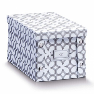 """2x Zeller Aufbewahrung Box mit Deckel """" Retro"""", weiß, für 20 CD Kiste Karton Case"""