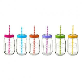 6x Zeller Glas Flasche 480ml bunter Deckel & Strohhalm, Trink Gläser Deko Vase