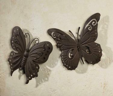 "2x Wand Deko "" Schmetterling"" Metall in Rost Optik, Garten Terrasse Balkon Hänger"