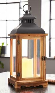 """LED Laterne """" Wood"""" 46 cm hoch Retro Windlicht Holz mit Glas, Henkel & Metalldach"""