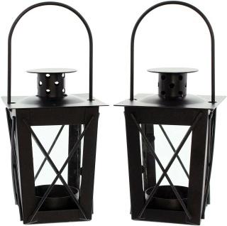 2er Set Mini Laternen aus Metall + Glas, schwarz, Teelicht Halter Windlicht - Vorschau 3