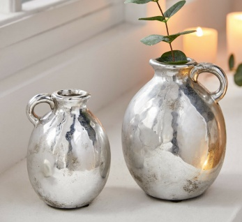 2er Set Henkel Vase Silber 13 & 16 cm klein, Retro Porzellan Tisch Blumen Kugel