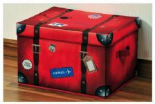 große KESPER AUFBEWAHRUNGSBOX mit DECKEL Koffer rot VLIES STOFF 42x33x27 KISTE
