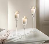 3 er Set Glas Kerzen Ständer Windlicht Kelch Leuchter Teelicht Halter