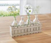 VASEN SET 'Gartenzaun? mit 5 VASE aus GLAS HOLZ TISCH BLUMEN