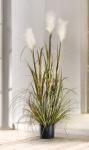 Deko Topfpflanze UFERSCHILF 120cm hoch Kunst Gras Schilf Pflanze Gräser Bündel
