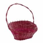 Präsentkorb rot / pink aus Weide Geschenk Obst Deko Henkel Bügel Weiden Korb