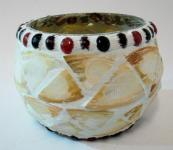 2er Set GILDE 48072 Windlicht MUSCHEL Glas Mosaik Teelicht Kerzen Ständer Halter