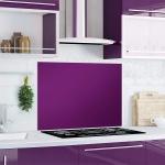 """Küchen Rückwand """" Purple Splash"""" Glas lila, 90x65 Herd Spüle Spritz Schutz Platte"""