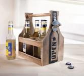 Holz FLASCHENTRÄGER mit ÖFFNER für 6 BIER FLASCHEN Shabby Chic Kiste Korb Träger