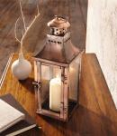 """Metall Laterne """" Kupfer"""" 35 cm hoch Garten Windlicht Kerzen Halter Ständer"""