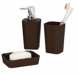 WENKO BAD ACCESSOIRE SET Rainbow Brown SEIFENSPENDER SEIFENSCHALE ZAHNPUTZBECHER