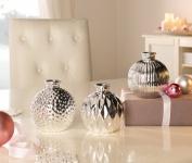 3er Vase 'Silberschein? aus Porzellan Tisch Blumen Stehvase Objekt