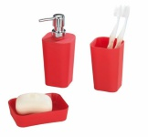 WENKO BAD ACCESSOIRES SET Rainbow Red SEIFENSPENDER SEIFENSCHALE ZAHNPUTZBECHER