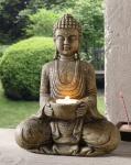 KERZENHALTER Buddha KERZENSTÄNDER in NATURSTEIN OPTIK KERZENLEUCHTER