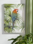Wand Bild 'Papagei? Leinwand Poster im Holz Rahmen Deko Schmuck Hänger