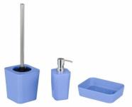 3tlg. WENKO Bad Set aus Bambus NATURAL blau Seifen Schale + Spender WC Garnitur
