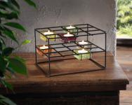 7TLG TEELICHTHALTER 'Colour-Cubes' für 6 TEELICHTER GLAS KERZENHALTER KERZEN