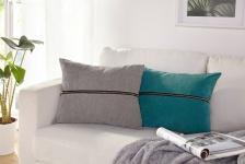 Zierkissen 'Reißverschluss? 40x50 cm grau Sofa Deko Couch Kissen Bezug