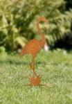 Flamingo Stecker 'Rost? aus Metall, Garten Blumen Deko Sticker Figur Rostoptik