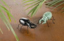 2er Set Figur 'Käferpaar? aus Porzellan schwarz grün Käfer Tisch Objekt Skulptur