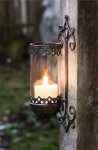 """Wand Leuchter """" Barock"""" aus Glas & Metall, Garten Kerzen Halter Laterne Windlicht"""