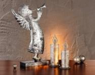 METALLENGEL 'Silberglanz' MIT TROMPETE DEKOENGEL METALL WEIHNACHTEN DEKOFIGUR