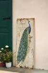 Holz-Bild 'Pfau' WANDBILD WANDHÄNGER WANDSCHMUCK WANDDEKO SHABBY 39 x 100 cm NEU