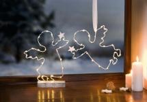 2er LED Deko 'Engel mit Stern? Innenbereich Stimmungs Licht Objekt Weihnachten