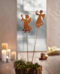 2er Garten Stecker 'Sternenengel? aus Metall Blumen Deko Herbst Engel Beet