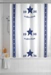 WENKO DUSCHVORHANG Collection 1936 weiß / blau 180x200 BAD VORHANG + 12 RINGE
