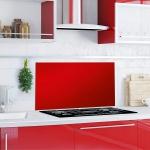 """Küchen Rückwand """" Red Splash"""" aus Glas rot, 90x50 Herd Spüle Spritz Schutz Platte"""