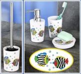 4tlg WENKO Bad Set FISCH WC Garnitur Seifen Spender + Schale Zahnputzbecher