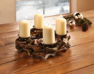 """Adventskranz """" Weinreben"""" für 4 Kerzen Weihnachts Tisch Deko Halter Gesteck Kranz"""