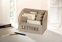"""Brief Box """" Letters"""" aus Holz, grau, 4 Fächer, Post Ablage Organizer Ständer"""