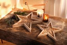 2er Deko Tablett 'Stern? aus Holz Kerzen Halter Teelicht Board Tisch Weihnachten