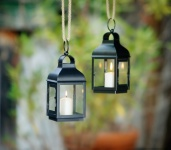Metall Laterne 'Klassik? schwarz Glas Windlicht Lampe Leuchte Garten Deko Kerze