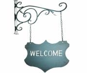 """HÄNGE SCHILD """" Welcome"""" aus SCHMIEDE EISEN blau RUSTIKAL ANTIK NOSTALGIE DEKO"""