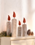 4er Deko 'Adventskerzen? aus Holz Säule Weihnachten Kerze Kerzenset Advent