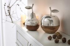 Birne 'Metallic-Wood? aus Metall Holz Deko Obst Tisch Objekt Figur