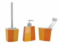 3tlg. WENKO Bad Set BiColor orange WC Garnitur Seifenspender Zahnputzbecher