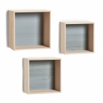 Zeller 3er SET WANDREGAL Cubes aus HOLZ CUBE WÜRFEL HÄNGEREGAL BÜCHER CD REGAL