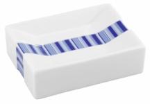 WENKO DESIGN SEIFENSCHALE Strips weiß blau aus PORZELLAN NEU SEIFENABLAGE