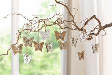 HÄNGER Schmetterling 12er SET aus HOLZ LANDHAUSSTIL HÄNGEDEKO FESTERDEKO NEU