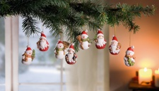 8er Hänger 'Santa & Schneemann? Deko Wand Tür Fenster Schmuck Verzierung